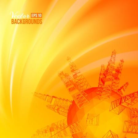 barril de petróleo: industria del petróleo de la plataforma petrolera puesta de sol de fondo Ilustración vectorial Vectores