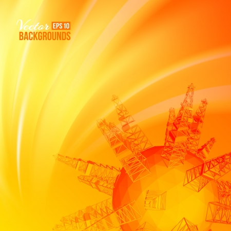 petroleum industry oil rig sunset background  Vector illustration