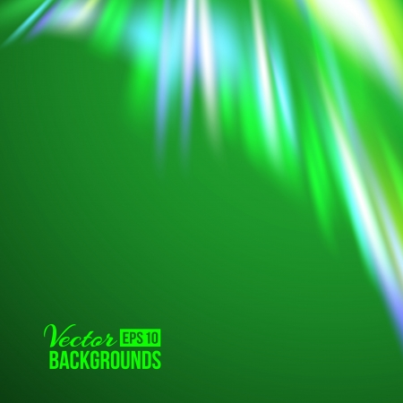 ionosphere: Green northern lights  Vector illustration