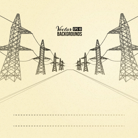 old technology: Electric pylons in perspective  Vector illustration Illustration