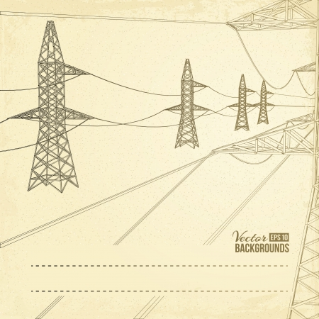 High voltage pylons over sepia text field  Vector illustration Stock Vector - 17773433