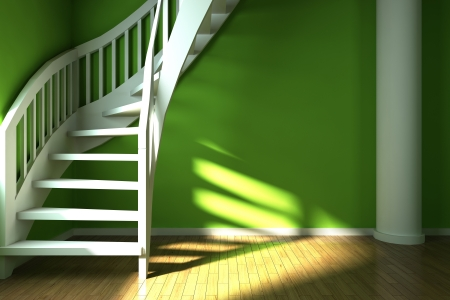 vestibule: Interior design of green hall  Illustration  Stock Photo