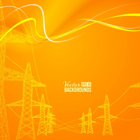 pylon: Electric power transmission  Vector illustration, contains transparencies, gradients and effects  Illustration