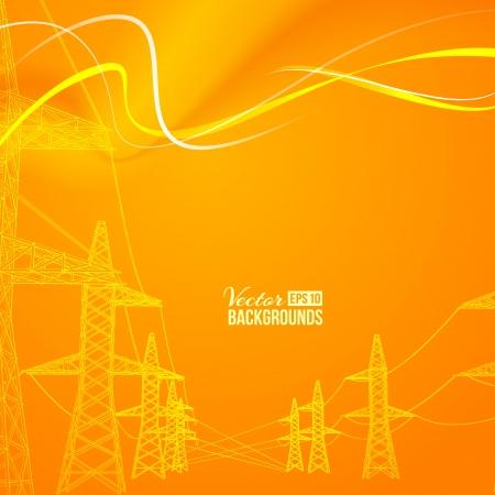 torres de alta tension: Transmisión de energía eléctrica ilustración vectorial, contiene transparencias, gradientes y efectos