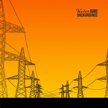 Electric power transmission  Vector illustration, contains transparencies, gradients and effects  Vector