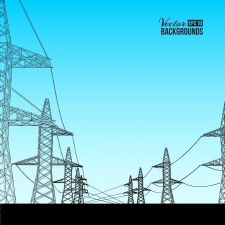Electric power transmission  Vector illustration, contains transparencies, gradients and effects Stock Illustration - 18095922
