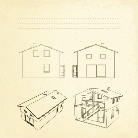 Wireframe of building with text fields and sepia background  Vector illustration, eps10, contains transparencies, gradients and effects  Vector