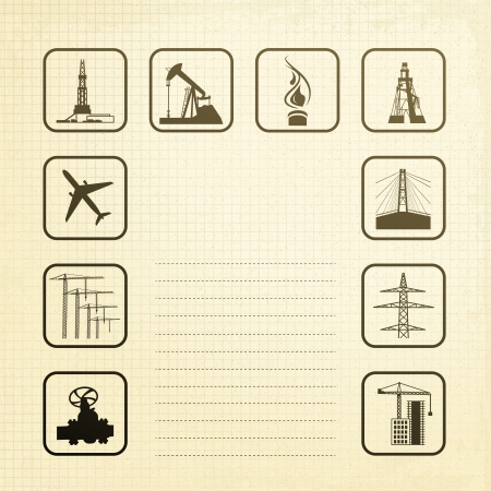 Sepia industry icons set  Vector illustration, eps10, contains transparencies, gradients and effects  Vector