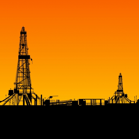 Oil rig silhouettes and orange sky  Vector illustration, eps10, contains transparencies, gradients and effects  Stock Illustration - 18095889
