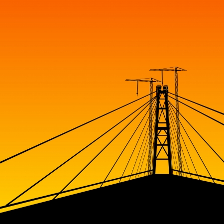 Suspension bridge perspective  Vector illustration, eps10, contains transparencies, gradients and effects  illustration