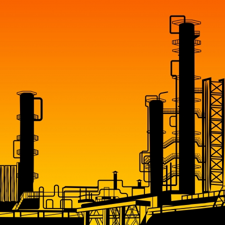 Oil refining  Illustration with plant of Oil refining  Vector illustration, eps10, contains transparencies, gradients and effects  Stock Illustration - 18095898