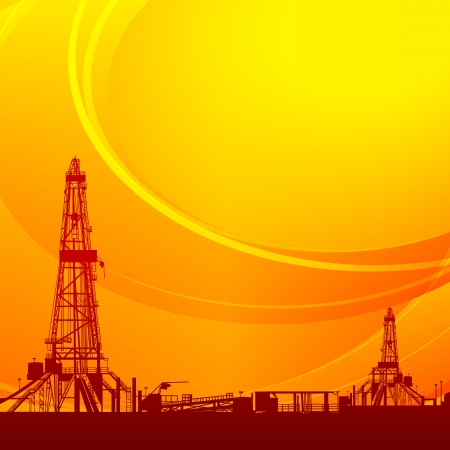 Oil rig silhouettes and orange sky  Vector illustration, eps10, contains transparencies, gradients and effects  Vector