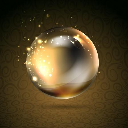 esfera: Brilhante perl ilustração esfera Golden Golden, contém transparências, gradientes e efeitos Ilustração