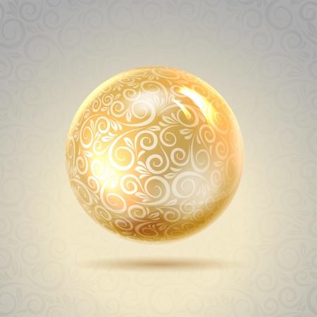 Dourado brilhante perl Ouro esfera do vetor, cont�m transpar�ncias, gradientes e efeitos