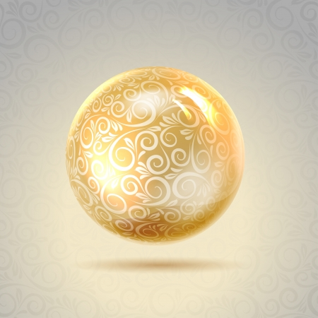 Golden shiny perl  Golden sphere  Vector illustration, contains transparencies, gradients and effects  Illustration