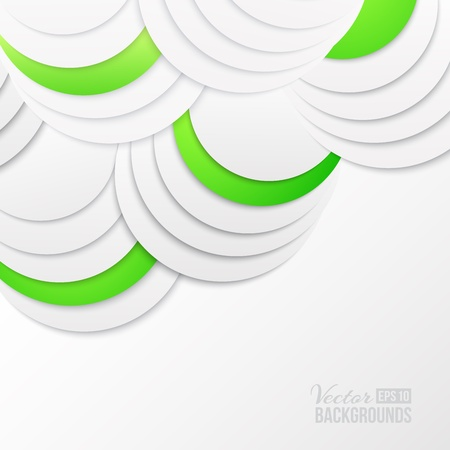 Abstract green paper circles  Vector illustration, contains transparencies, gradients and effects  Stock Vector - 18339863