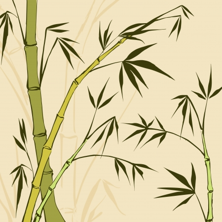 japanese garden: Bamboo Painting  Vector illustration, contains transparencies, gradients and effects