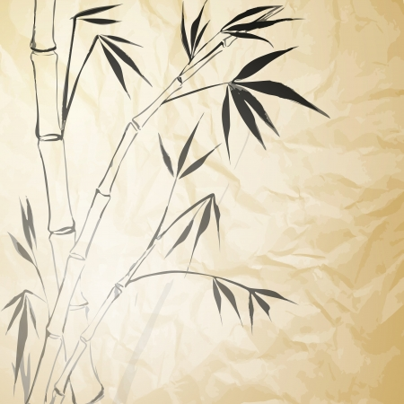antique asian: Grunge Stained Bamboo Paper  illustration, contains transparencies, gradients and effects
