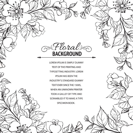 transparencies: Flower frame  illustration, contains transparencies, gradients and effects  Illustration
