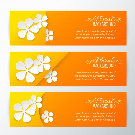 flower card: Set of three card with paper flower  Vector illustration, contains transparencies, gradients and effects  Illustration