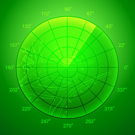 Green radar screen over grid lines and map  Vector