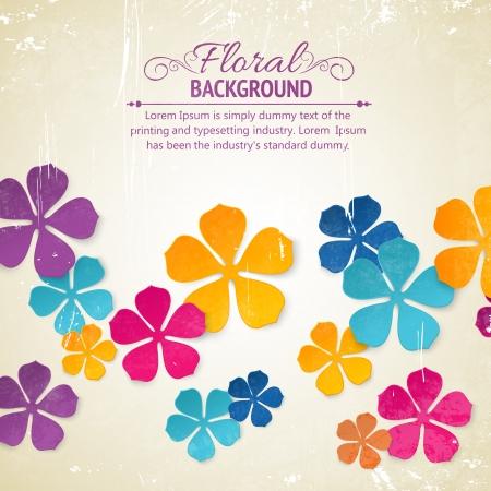 flowers background: Colored flower backdrop  Old shabby background  Illustration