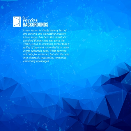 white background illustration: Abstract blue background of geometric triangle shapes in random pattern