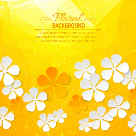Flower ornamental gold pattern  Old shabby orange colored background  Vector