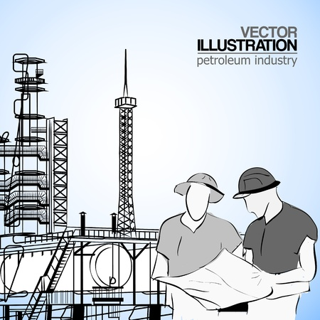 Industrial engineer checking plan with storage tank and tower refinery on the background  Vector