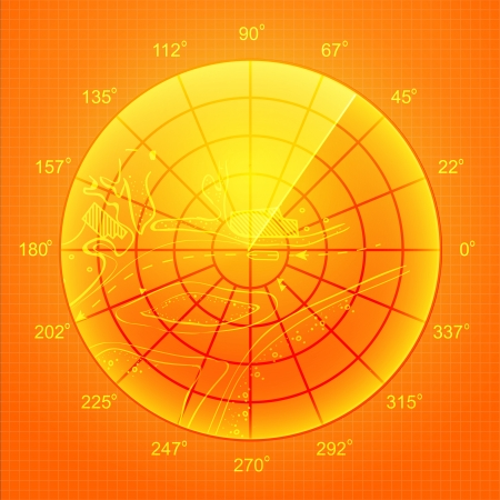 globe grid: Orange radar screen over grid lines and map