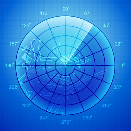 Blue radar screen over grid lines and map  Vector