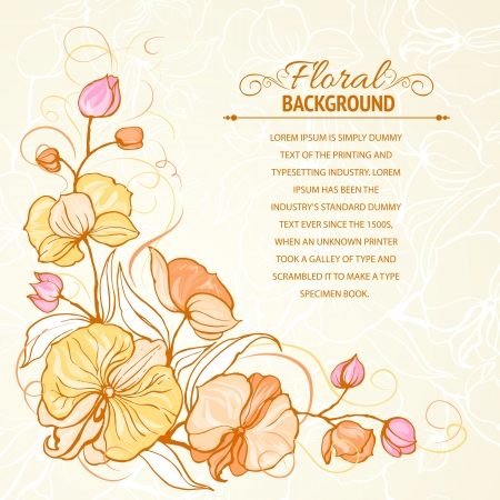 Sepia grunge background with orchid imprint  illustration, contains transparencies, gradients and effects  Vector
