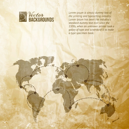 old world map: World map with track lines in vintage pattern  Vector illustration, contains transparencies, gradients and effects  Illustration