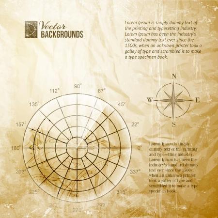 sonar: Schermo radar dell'annata sopra le linee della griglia e illustrazione vettoriale mappa, contiene trasparenze, sfumature ed effetti