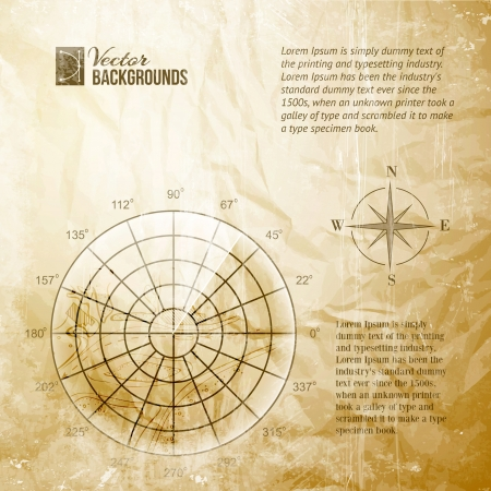 treasure: Vintage radar screen over grid lines and map  Vector illustration, contains transparencies, gradients and effects  Illustration