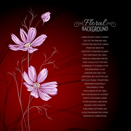 background brown: Blue flower over brown background  Vector illustration, contains transparencies, gradients and effects