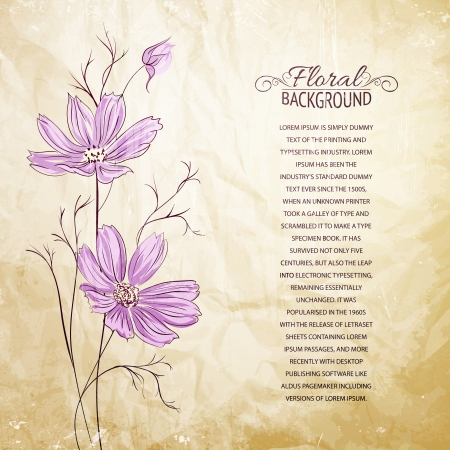 buttercup  decorative: Blue flower over brown background  Vector illustration, contains transparencies, gradients and effects