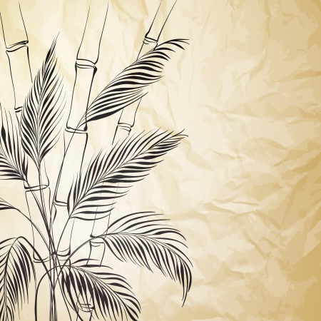 palmetto: Palm tree over bamboo forest  Vector illustration