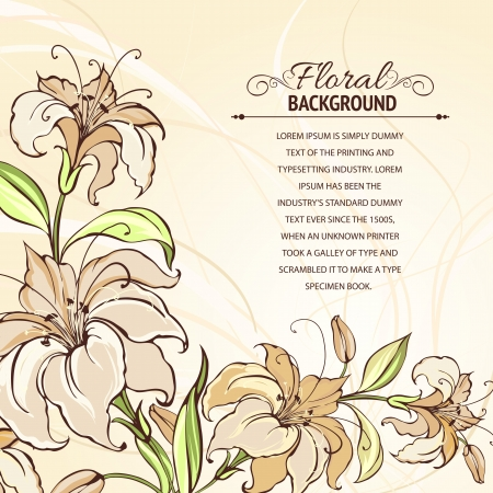 Brown background with blooming lilies  Vector illustration  Vector