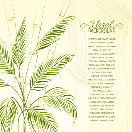 palm branch: Palm tree over bamboo forest  Vector illustration, contains transparencies, gradients and effects