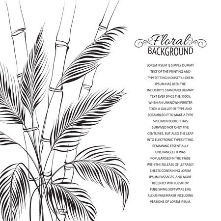droop: Palm tree over bamboo forest, isolated on the white  Vector illustration