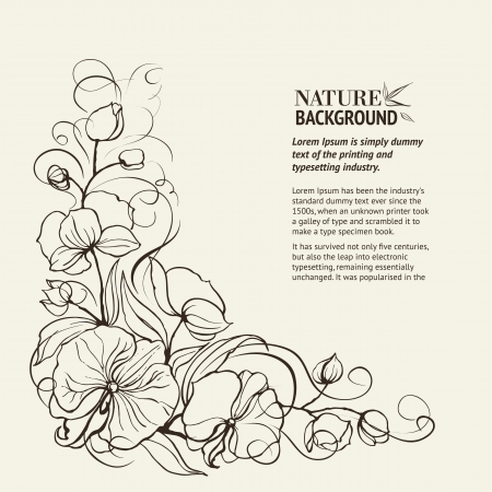 dry flowers: Sepia grunge background with orchid imprint  Vector illustration, contains transparencies, gradients and effects