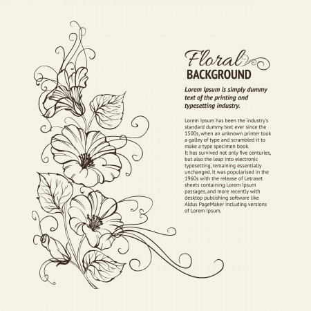 transparencies: Bindweed on a sepia background with text space  Vector illustration, contains transparencies, gradients and effects  Illustration