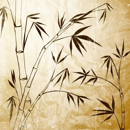 식물상: 대나무 그림 벡터 일러스트 레이 션, 투명, 그라디언트 및 효과를 포함