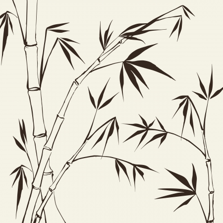 oriental: Bamboo Painting  Vector illustration, contains transparencies, gradients and effects
