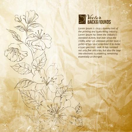 Rascunho da primavera sakura Vector ilustra��o, cont�m transpar�ncias, gradientes e efeitos