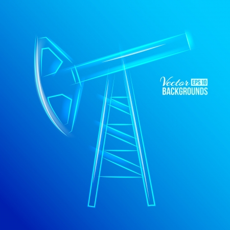 petroleum blue: Glass oil pump  Vector illustration, contains transparencies, gradients and effects