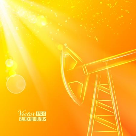 oil pipeline: Trabajo de la bomba de aceite en la puesta del sol Ilustraci�n vectorial, contiene transparencias, gradientes y efectos Vectores