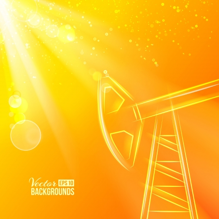 Working oil pump at sunset  Vector illustration, contains transparencies, gradients and effects  Vector