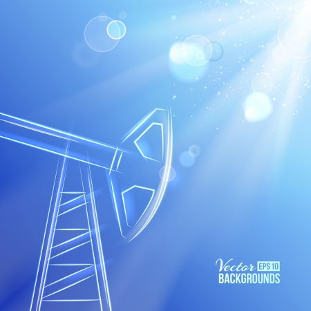 petroleum blue: Working oil pump at sunlight  Vector illustration, contains transparencies, gradients and effects